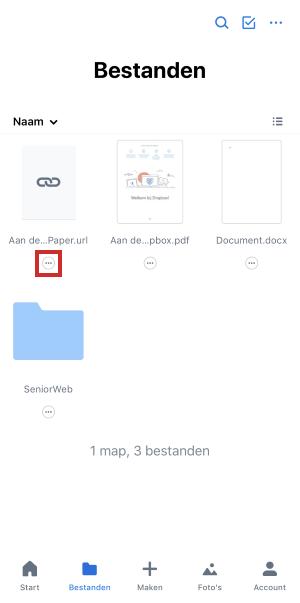 Menú de iconos debajo del nombre del archivo en la aplicación de Dropbox
