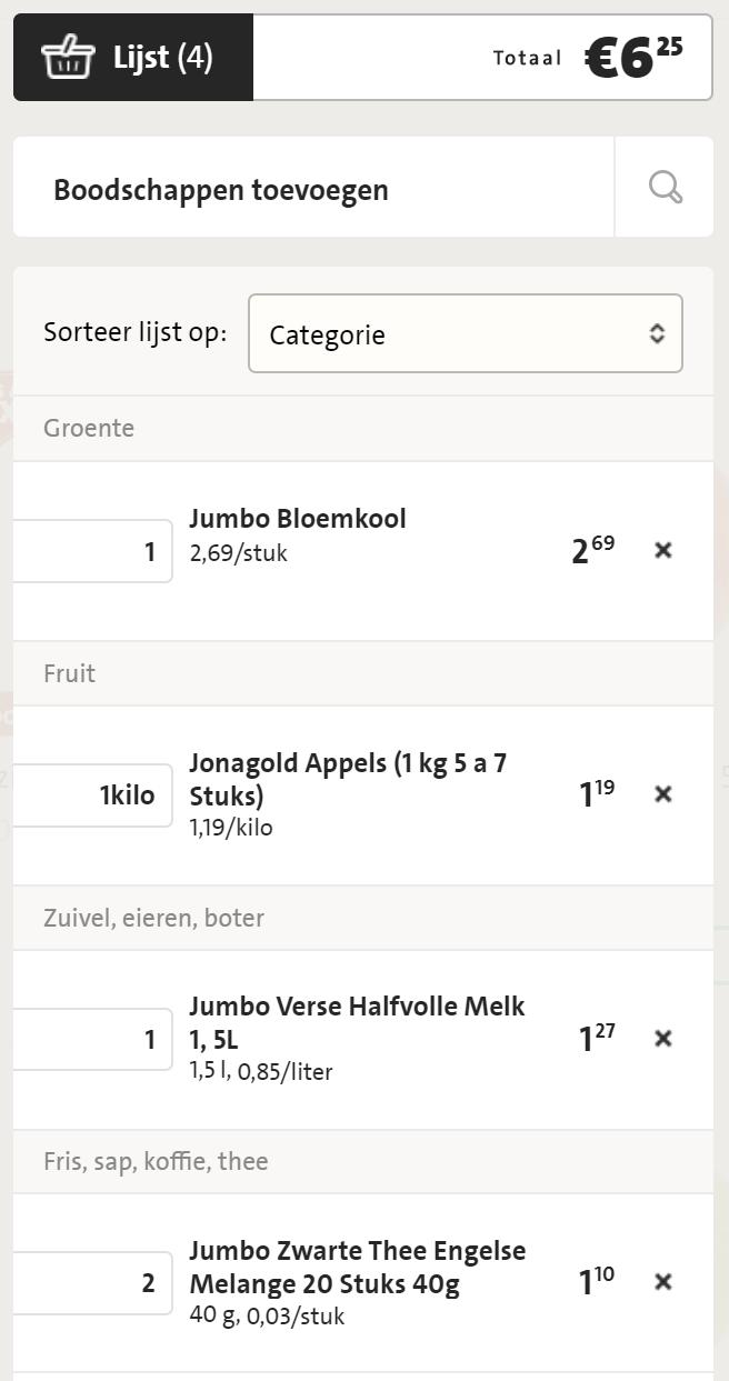 Lista de pedidos Jumbo
